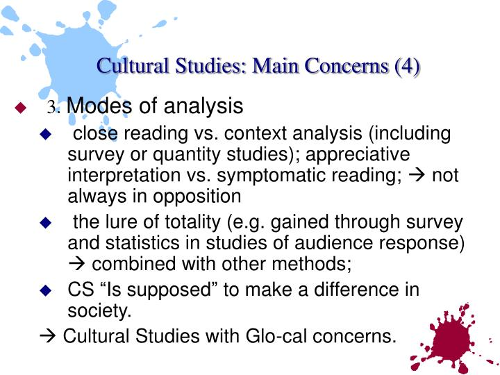 Cultural Studies: Main Concerns (4)