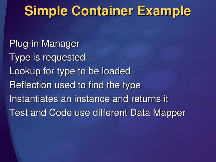 Simple Container Example
