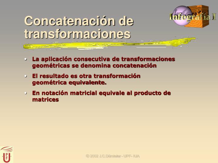 La aplicación consecutiva de transformaciones geométricas se denomina concatenación