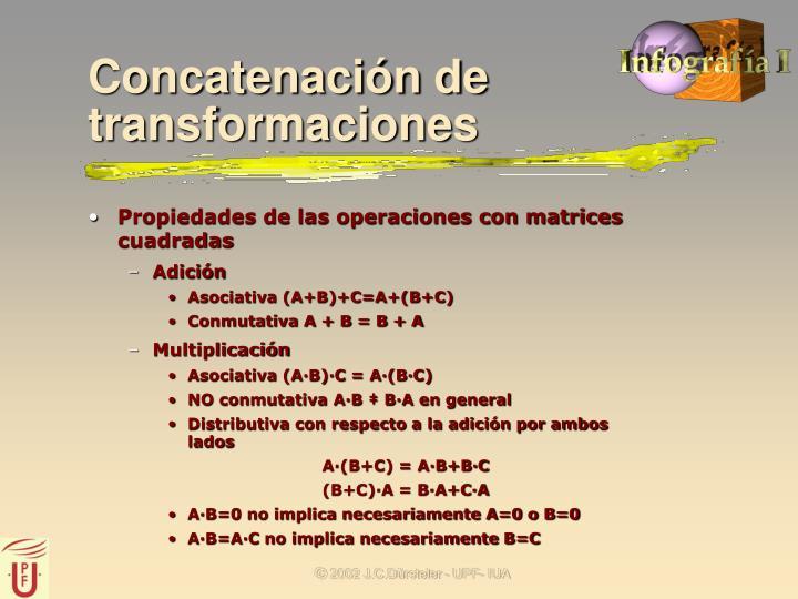 Propiedades de las operaciones con matrices cuadradas