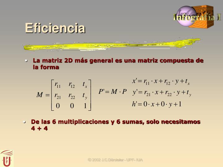 La matriz 2D más general es una matriz compuesta de la forma