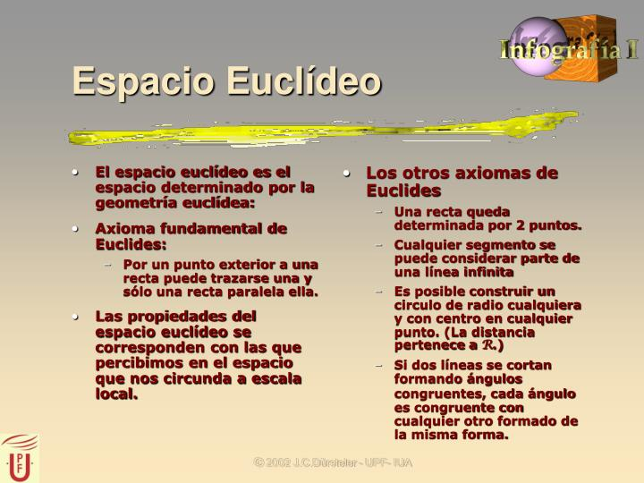 El espacio euclídeo es el espacio determinado por la geometría euclídea: