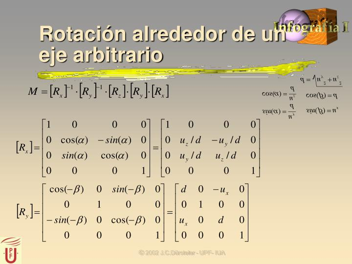 Rotación alrededor de un eje arbitrario