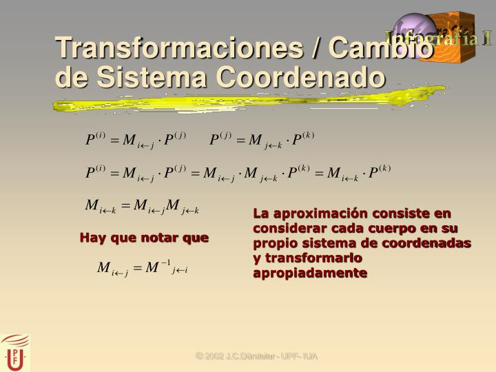 Transformaciones / Cambio de Sistema Coordenado