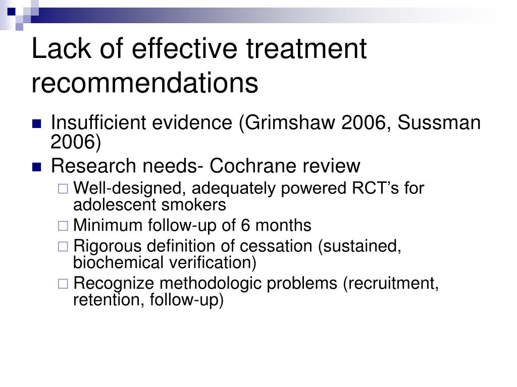 Lack of effective treatment recommendations