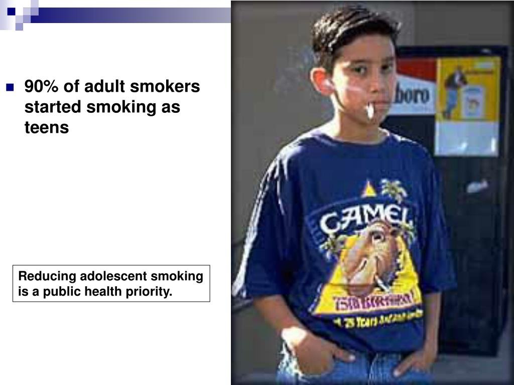 90% of adult smokers               started smoking as teens