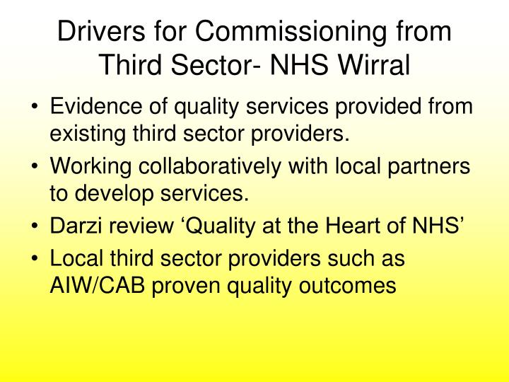 Drivers for Commissioning from Third Sector- NHS Wirral