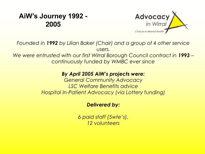 AiW's Journey 1992 - 2005