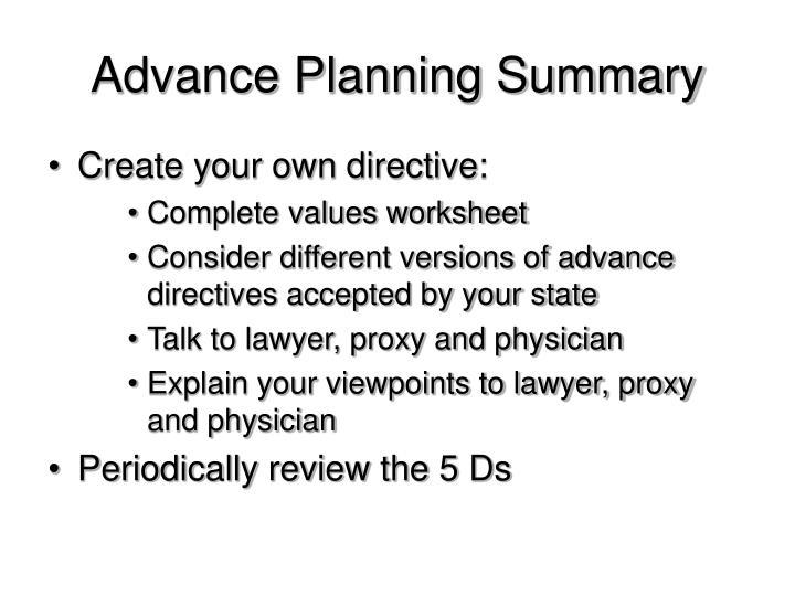Advance Planning Summary