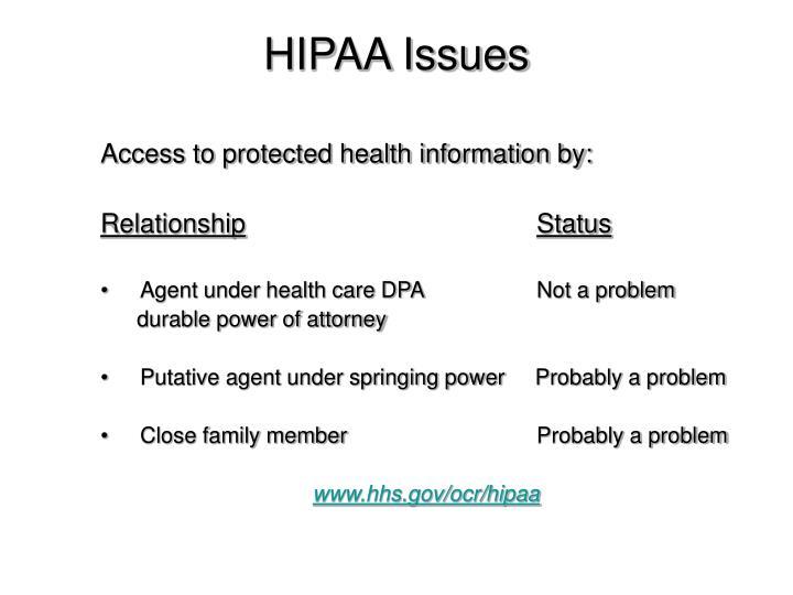 HIPAA Issues