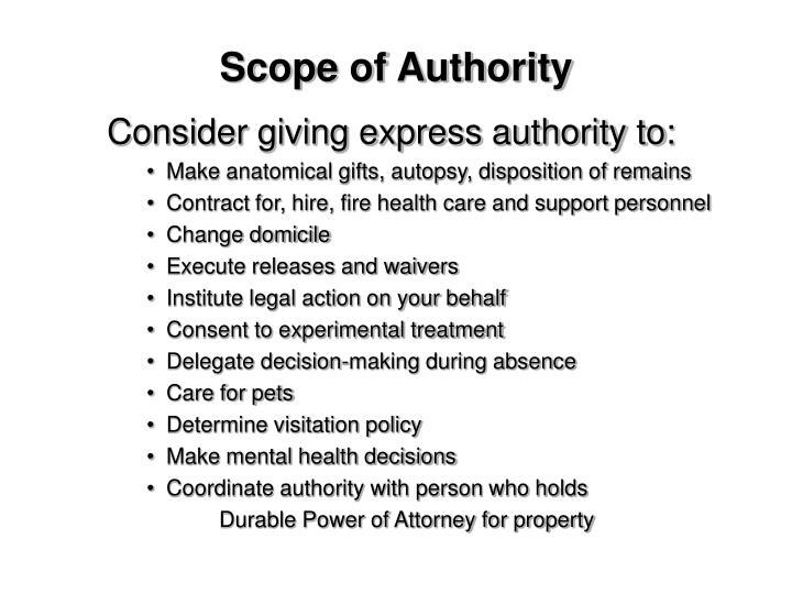 Scope of Authority