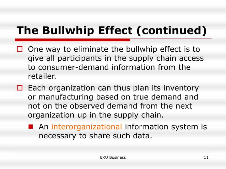 The Bullwhip Effect (continued)