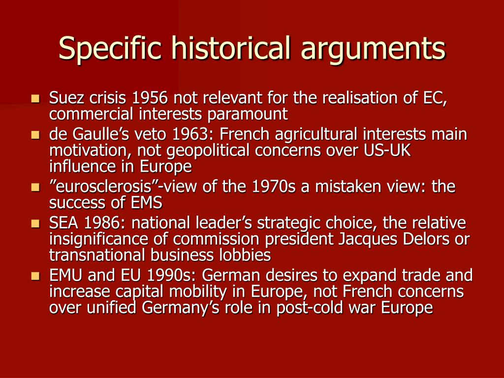Specific historical arguments
