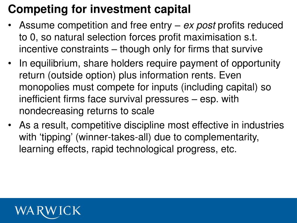 Competing for investment capital