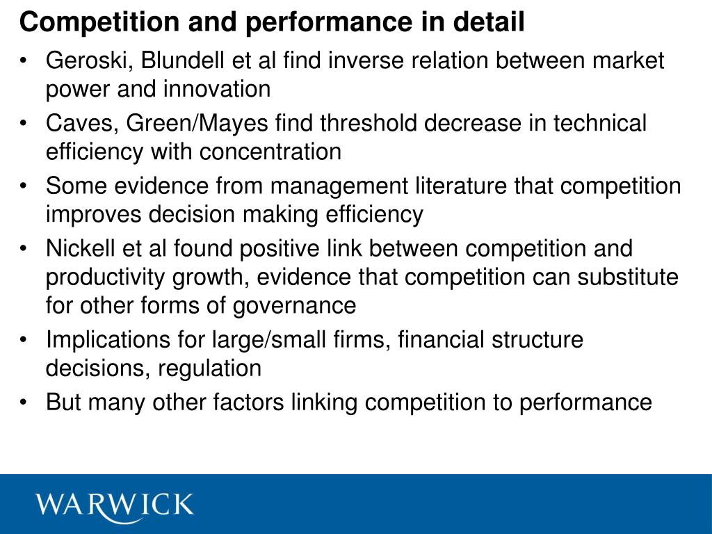 Competition and performance in detail