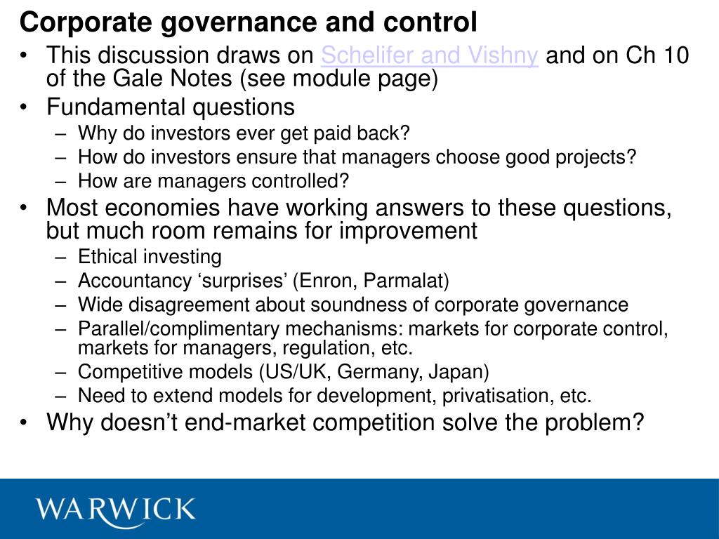 Corporate governance and control
