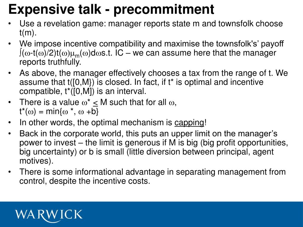 Expensive talk - precommitment