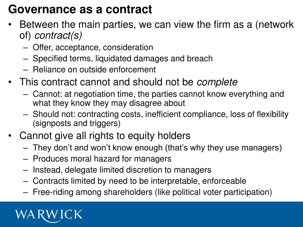 Governance as a contract
