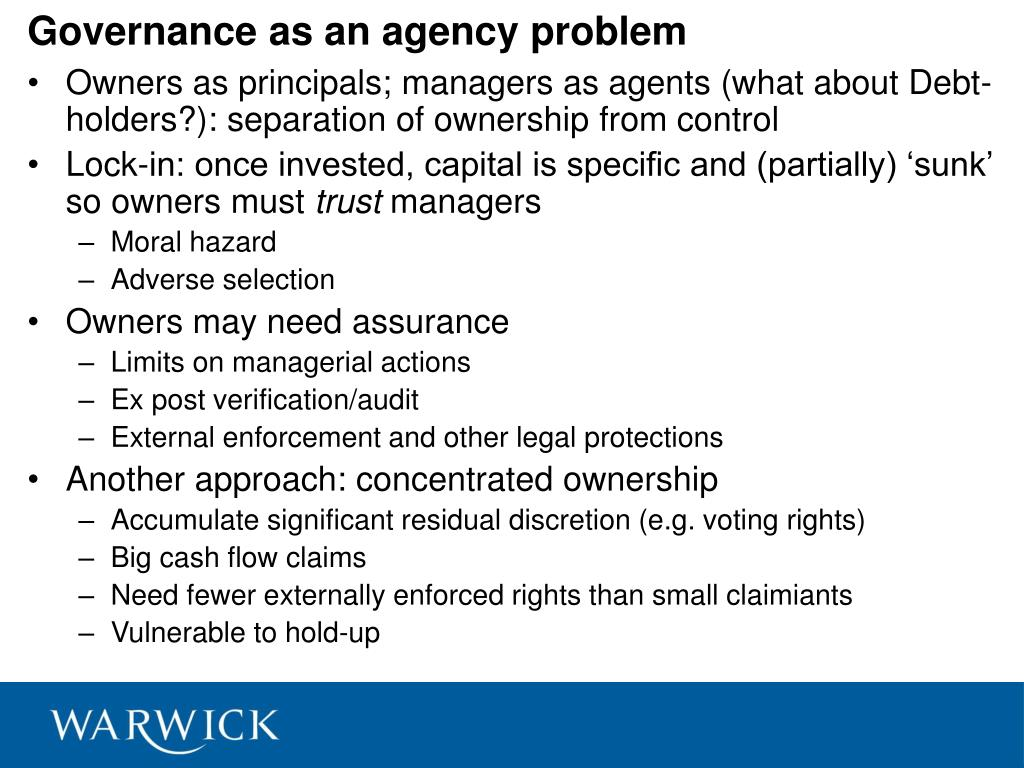 Governance as an agency problem