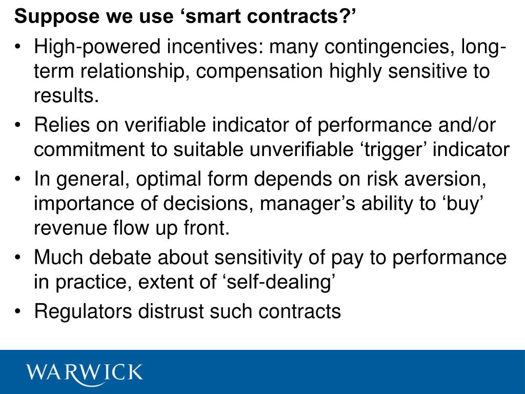 Suppose we use 'smart contracts?'