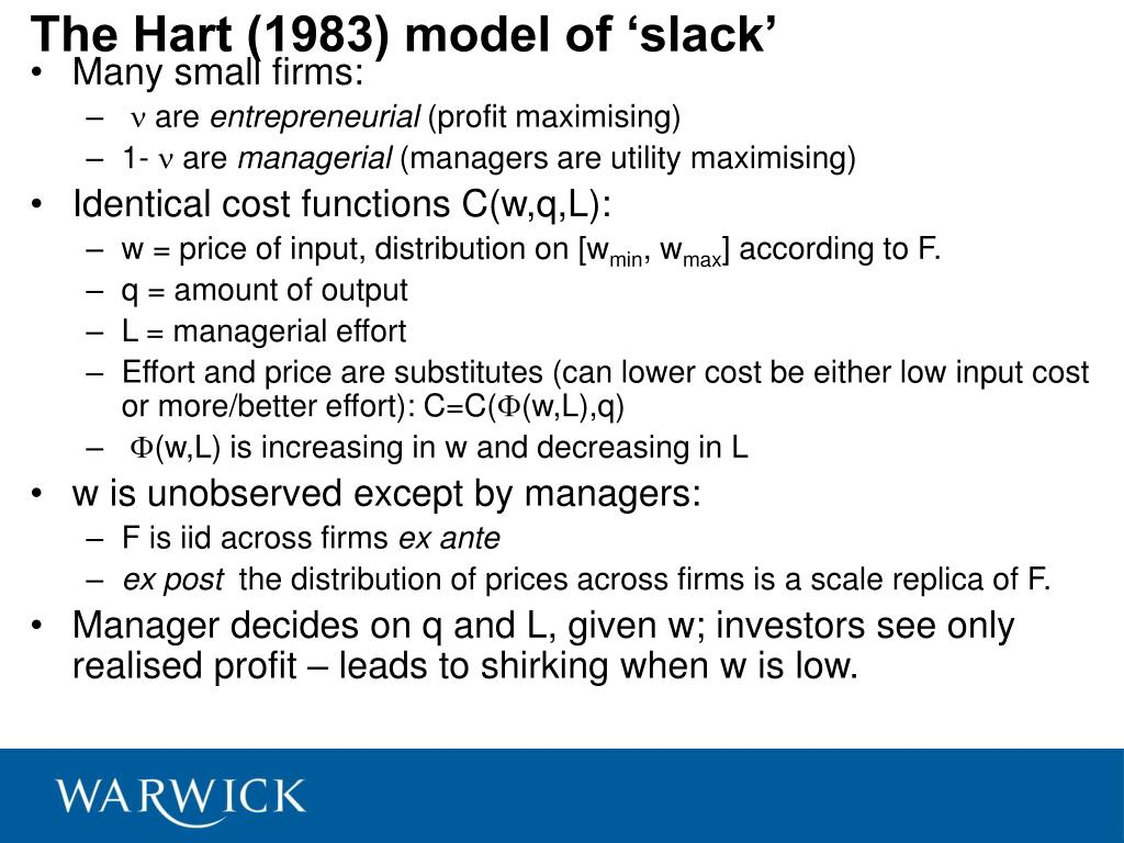 The Hart (1983) model of 'slack'