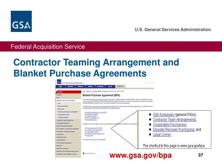 Contractor Teaming Arrangement and Blanket Purchase Agreements