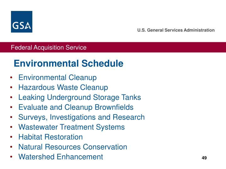 Environmental Schedule