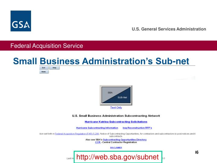 Small Business Administration's Sub-net