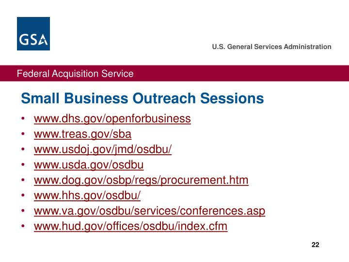 Small Business Outreach Sessions