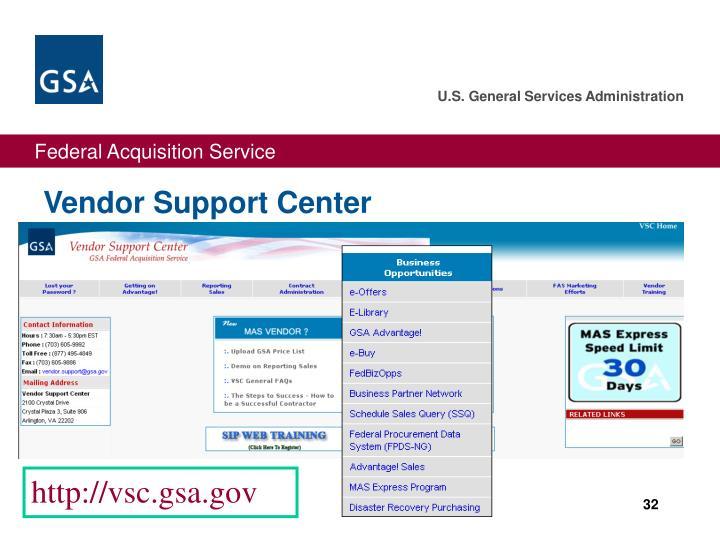 Vendor Support Center