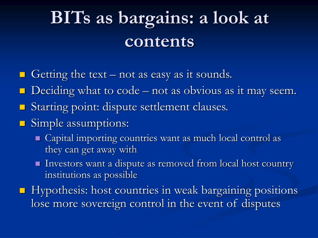 BITs as bargains: a look at contents