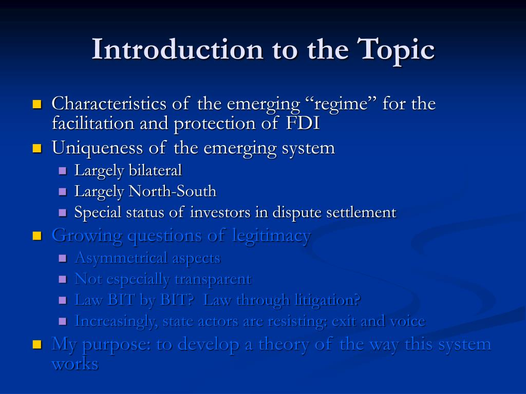 Introduction to the Topic