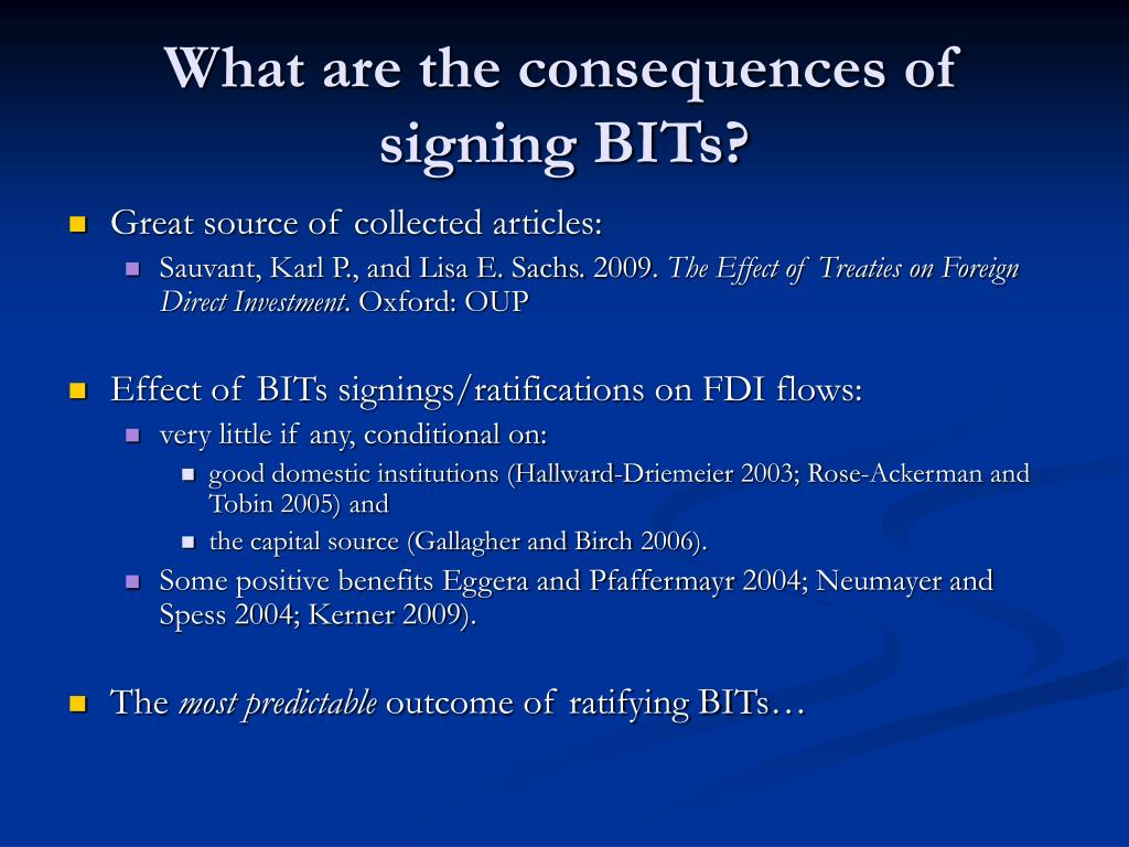 What are the consequences of signing BITs?