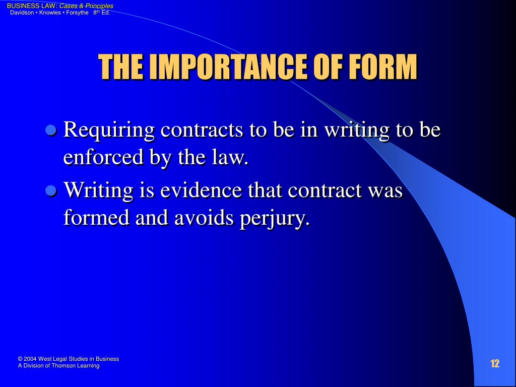 THE IMPORTANCE OF FORM