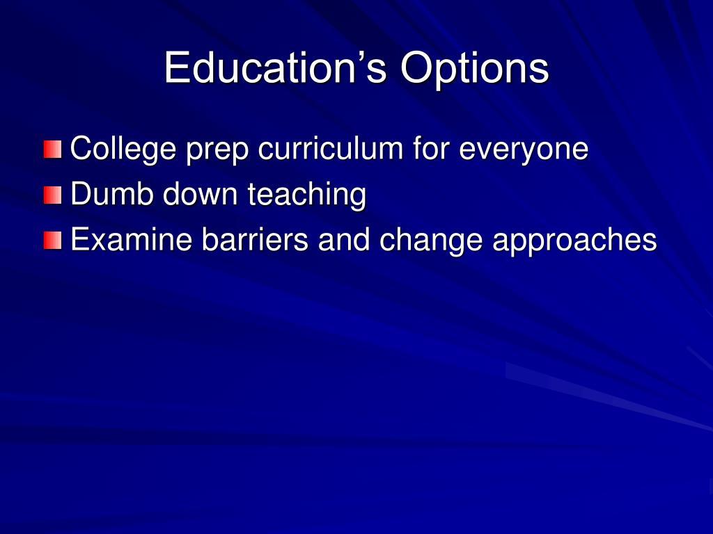 Education's Options