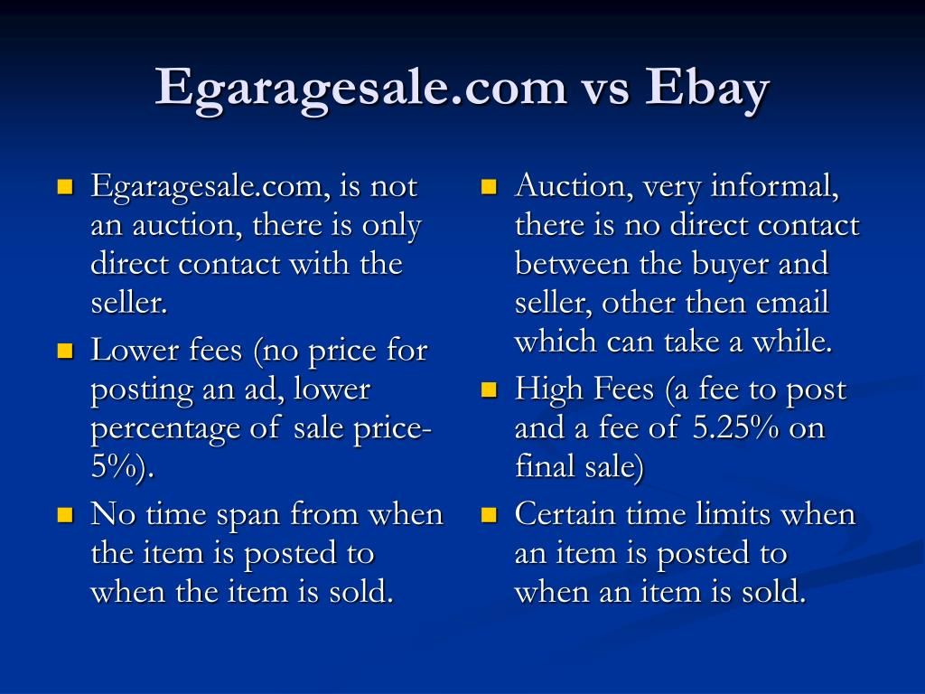Egaragesale.com, is not an auction, there is only direct contact with the seller.