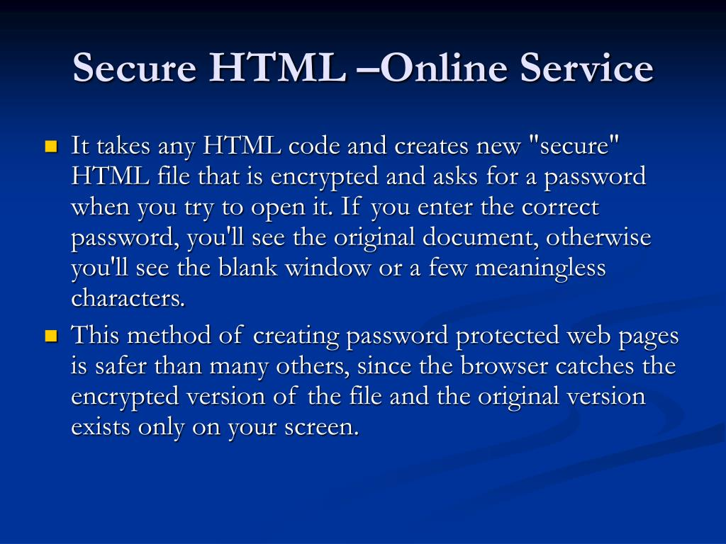Secure HTML –Online Service