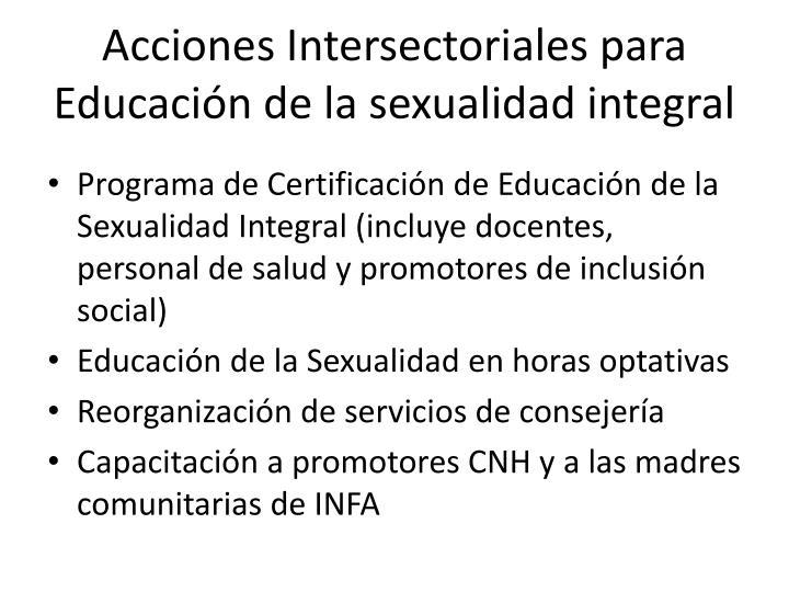 Acciones Intersectoriales para Educación de la sexualidad integral