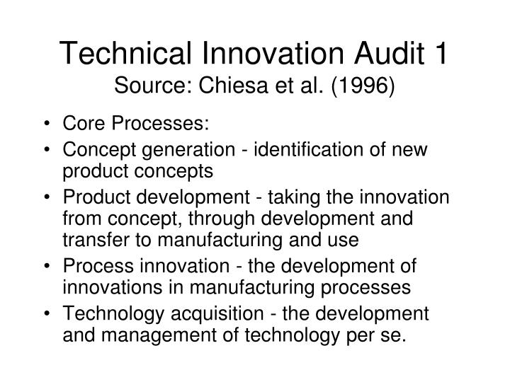 Technical Innovation Audit 1