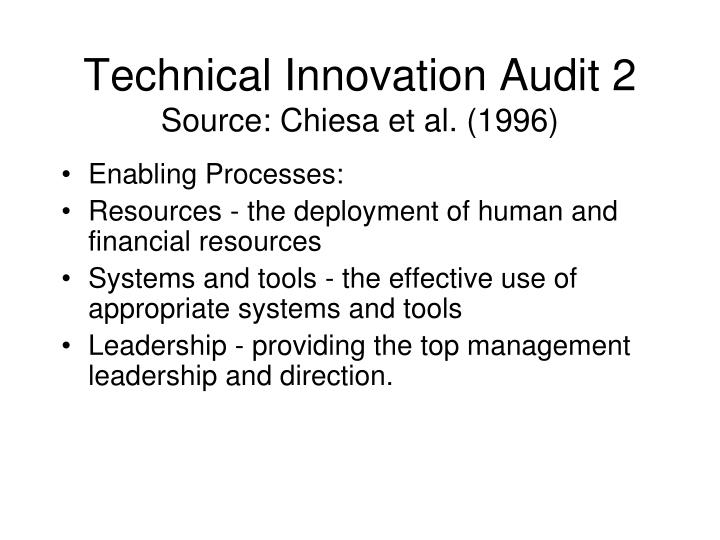 Technical Innovation Audit 2
