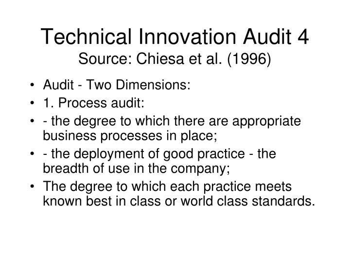 Technical Innovation Audit 4