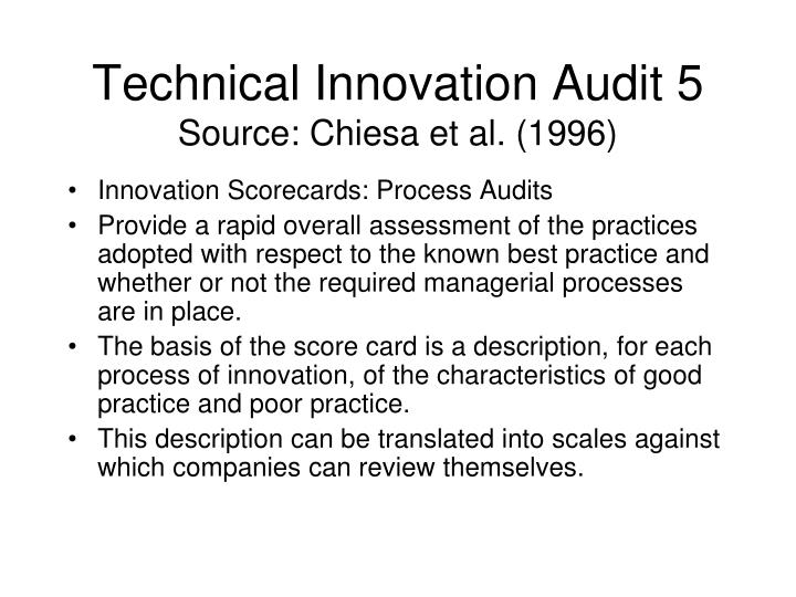 Technical Innovation Audit 5