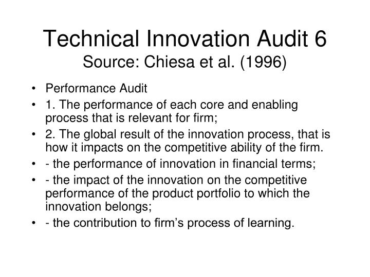 Technical Innovation Audit 6