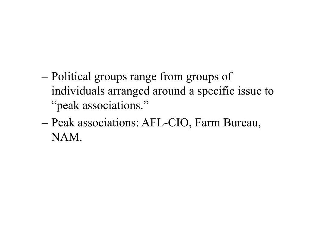 """Political groups range from groups of individuals arranged around a specific issue to """"peak associations."""""""
