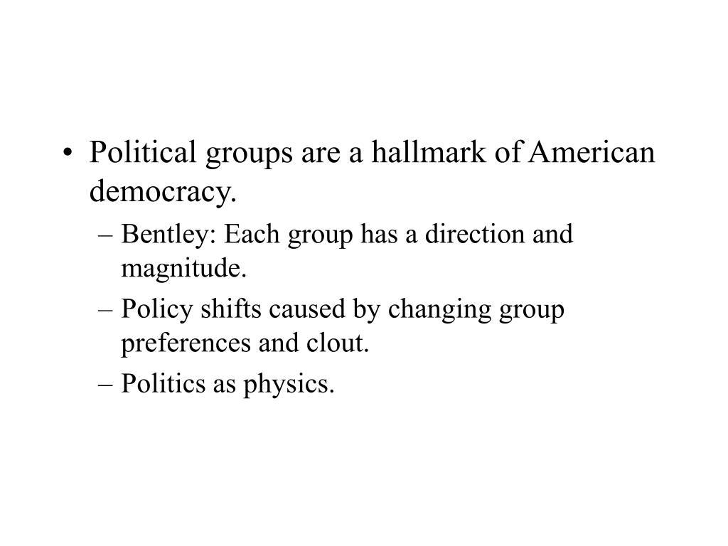 Political groups are a hallmark of American democracy.