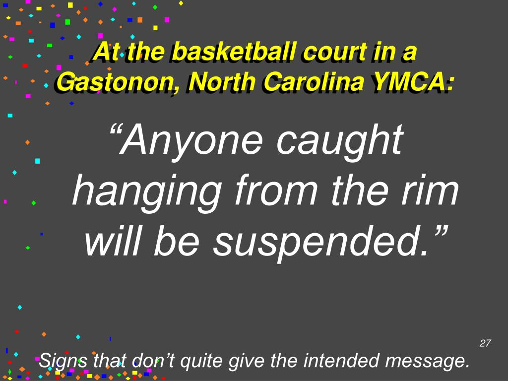At the basketball court in a Gastonon, North Carolina YMCA: