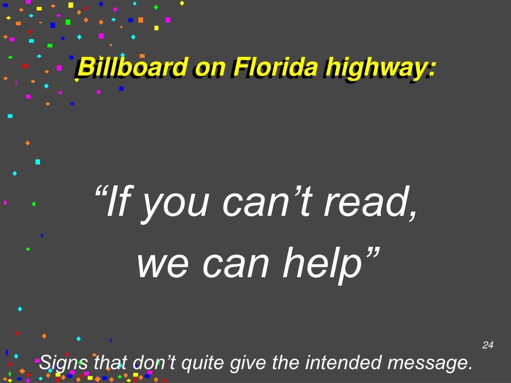 Billboard on Florida highway: