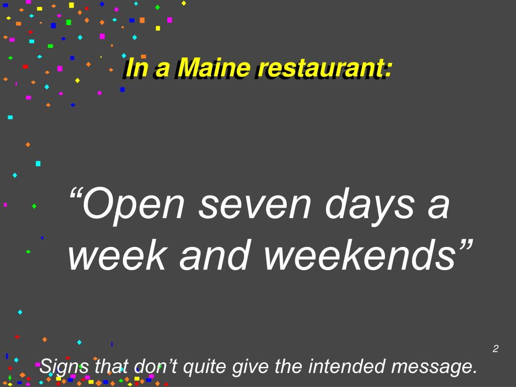 In a Maine restaurant: