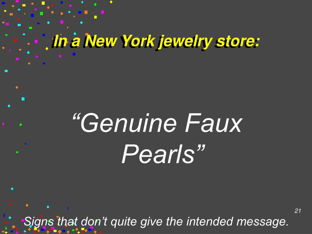 In a New York jewelry store: