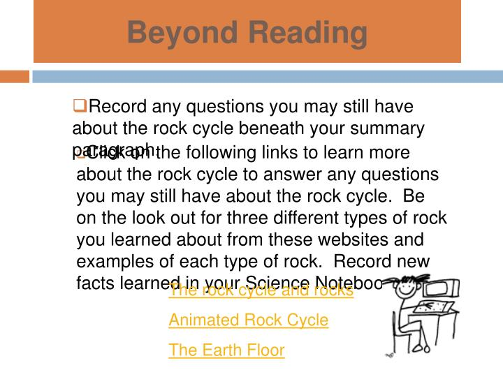 Record any questions you may still have about the rock cycle beneath your summary paragraph.